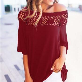 Off-The-Shoulder Crochet Lace Loose..