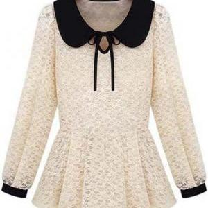 Cute Peter Pan Collar With Bow Beig..
