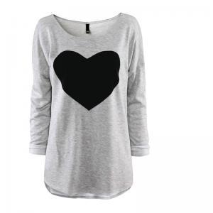 Women's Heart Pattern T-Shirt Long ..