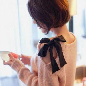 Strapless Bow Retro Loose Cardigan ..