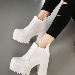 Pure White Retro Fashion Chunky Hee..