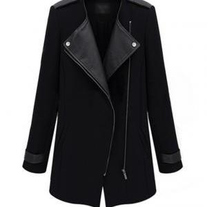 PU Lapel Slanting Zipper Collarless..