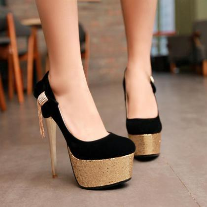 Classy Black And Gold Stiletto Heel..