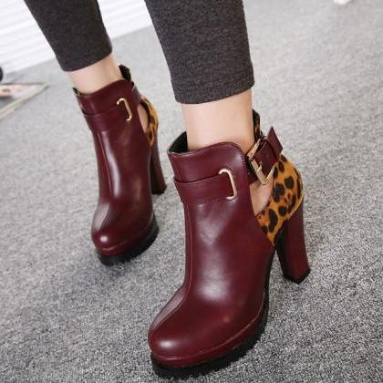 Wine Red Boots With Leopard Print D..