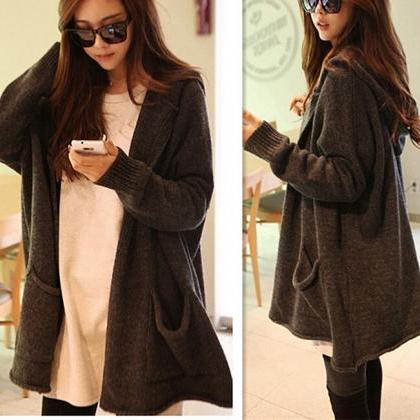 Hooded Sweater Coat Sweater Cardiga..