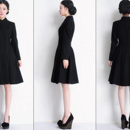 Double Breasted Long Swing Black Coat Dress Wool Coat Jacket ...