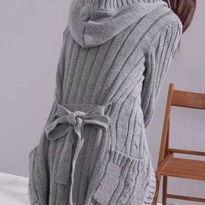 Cute Hooded Grey Sweater Coat With ..