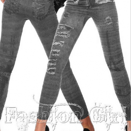 Denim Leggings Seamless Fashion Pri..