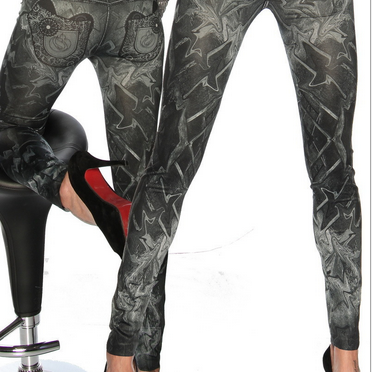 Printed Denim Fashion Seamless Legg..