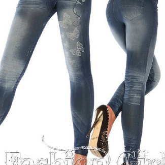 Denim Butterfly Print Fashion Leggi..