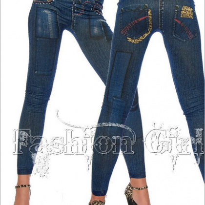 Fashion Personality Denim Leggings ..