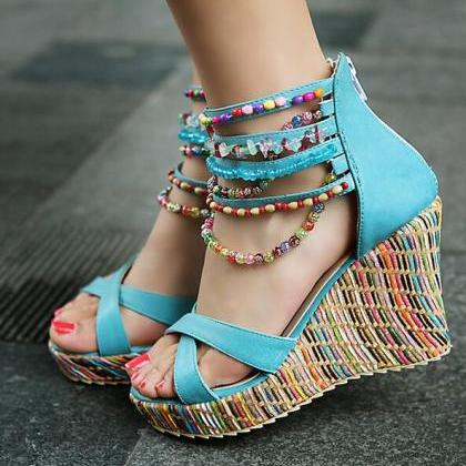 Summer Fashion Sandals Beaded High-..