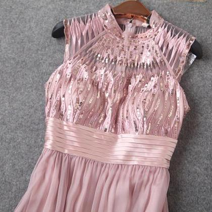 Heavy Embroidery Sequins Bare Pink ..