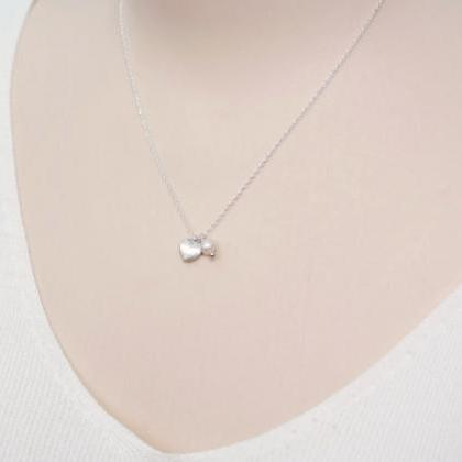 Tiny Heart Necklace Freshwater Pear..