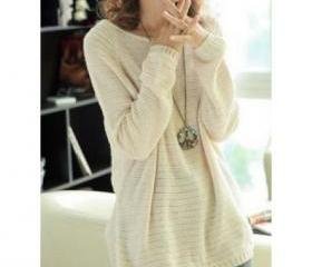 BEIGE LOOSE BAT SLEE..
