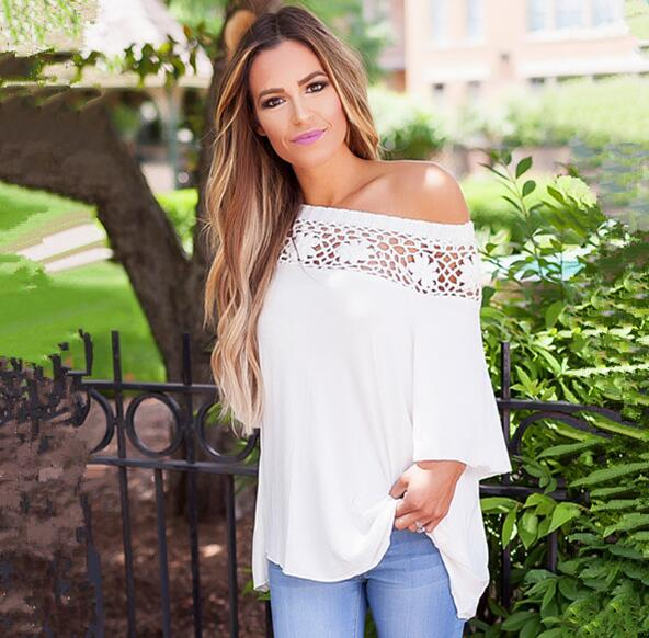 Off-The-Shoulder Crochet Lace Loose Top with Mid-Length Sleeves