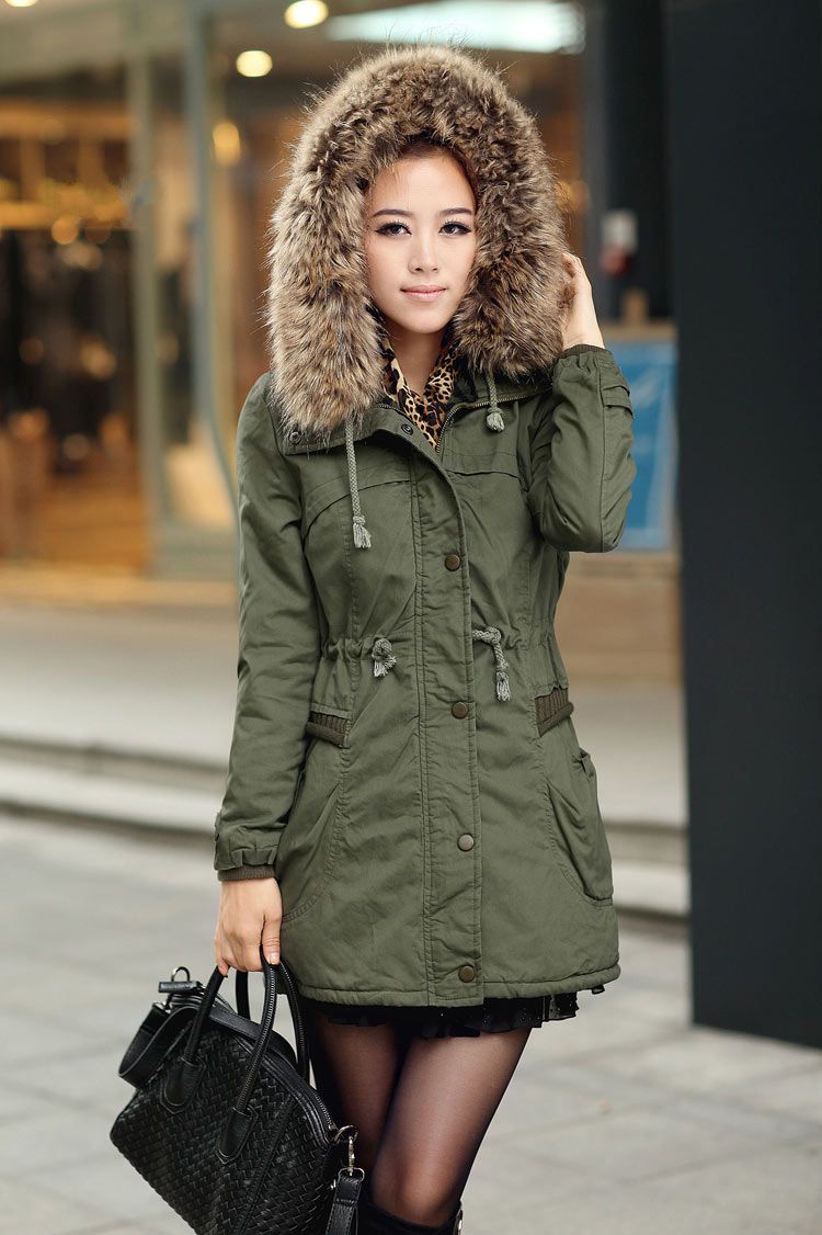 35093aa71 Womens Winter Coats Faux Fur Lining Parka With Fur Hood In Green