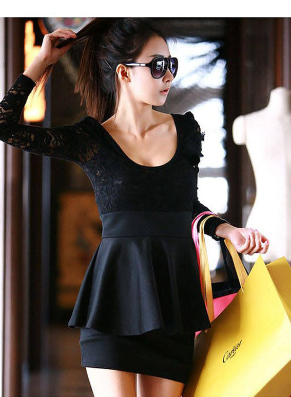 Lace Long Sleeves Peplum Bodycon Mini Black Dress On Luulla