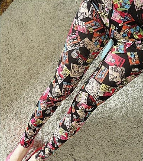 In the spring and autumn thin milk silk printing girl photo nine Leggings