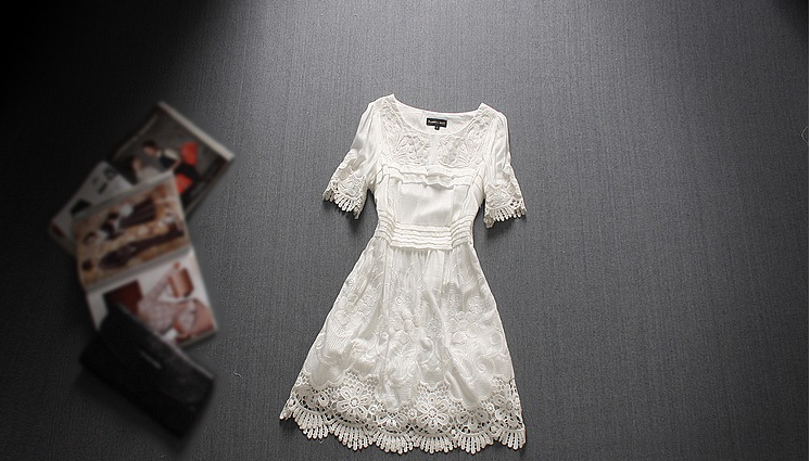 Sleeve lace embroidery flower dress irregular self-cultivation