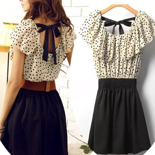 10d6dbbaf29 Korean Women Summer New Fashion Short-Sleeve Dots Polka Waist Dress ...