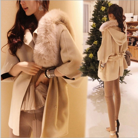 The 2014 European winter new women's Ms. fine wool overcoat big fur collar windbreaker