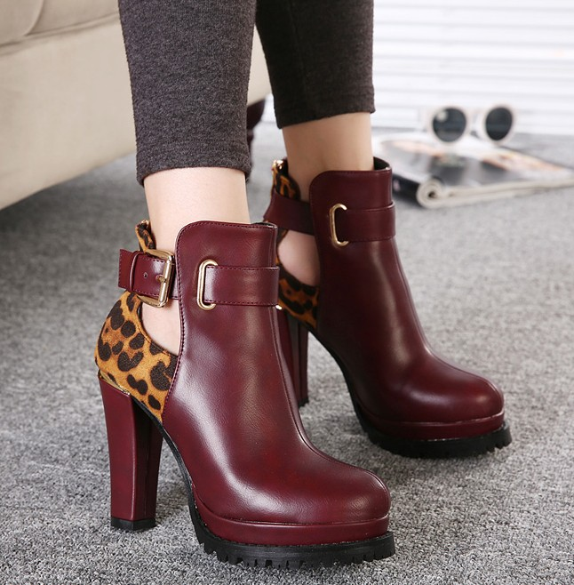 Wine Red Boots With Leopard Print Details