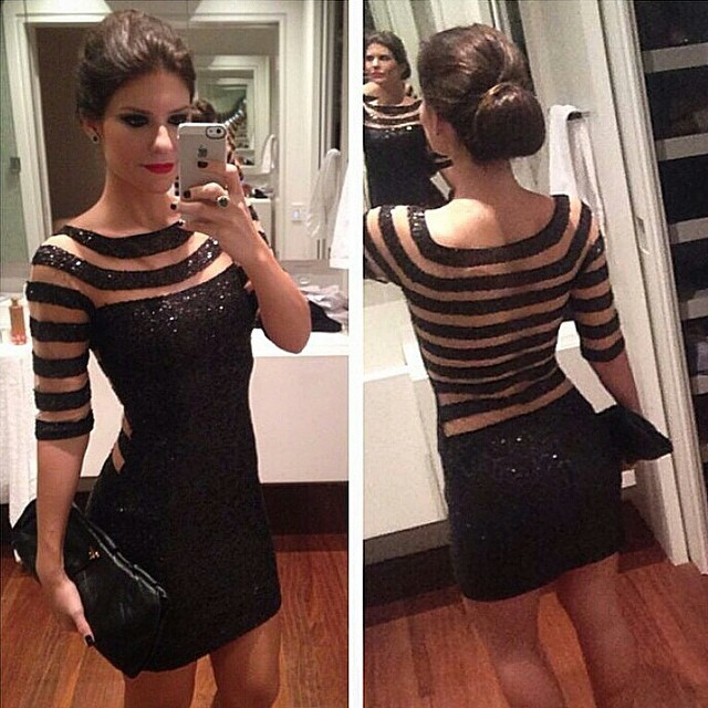 8d157be8148 Sexy Women Short Sleeve Stripes Formal Slim Party Evening Cocktail Mini  Dress