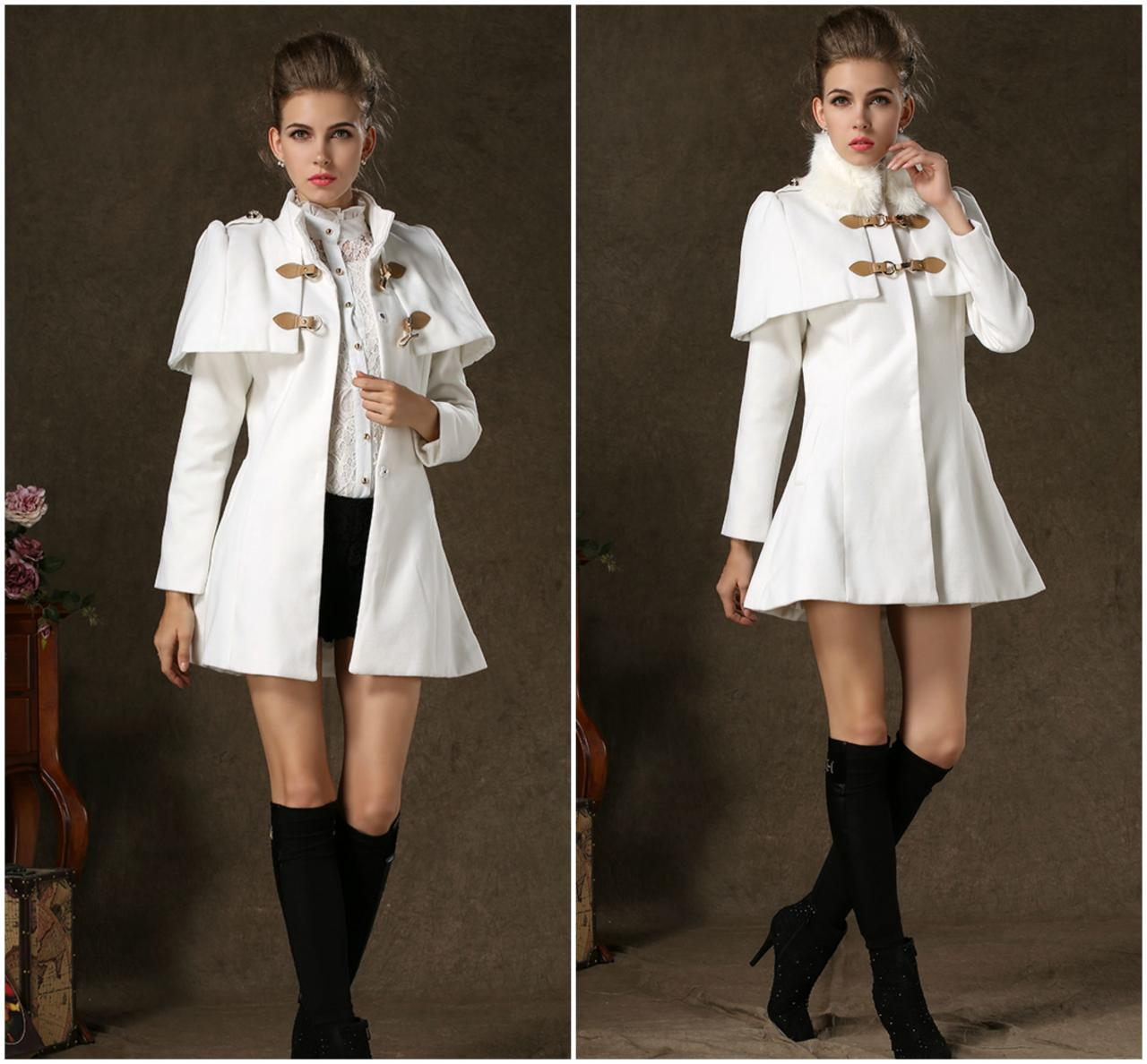 Classic European Style White Double Breasted Winter Coat