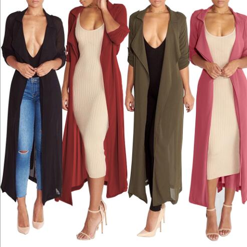2018 European and American fashion long-sleeved cardigan jacket 3 colors