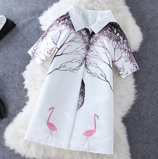 Women's new fashion style PINK SWAN symmetric tree printing white coat