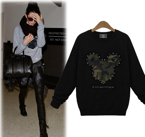 Winter new women's long sleeved T-shirts printed loose women fashion sweater size