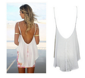Loose white perspective hollow backless trade chiffon shirt