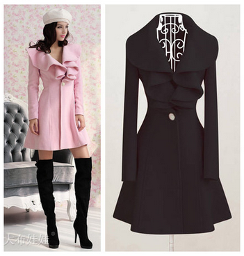 Europe and the United States autumn and winter long section of lotus leaf edge wool wool coat coat girl