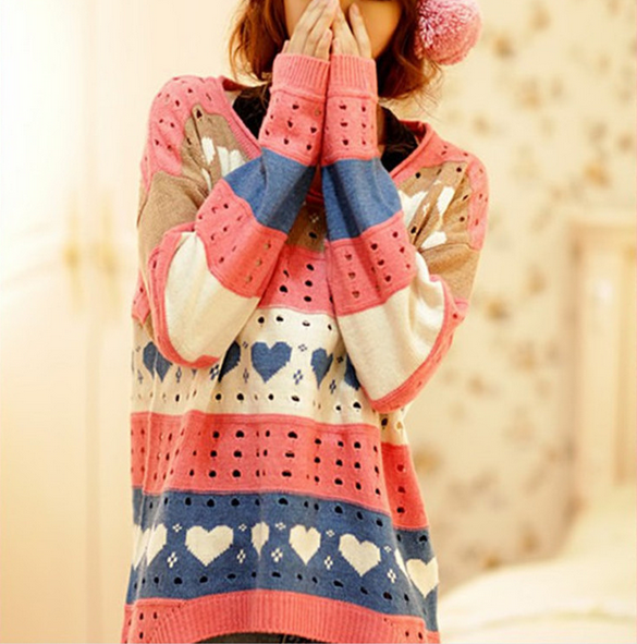 Women's big code loose hollow sleeve head color heart in a long paragraph sweater