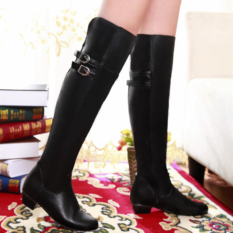 Over The Knee Black Buckle Design Winter Boots