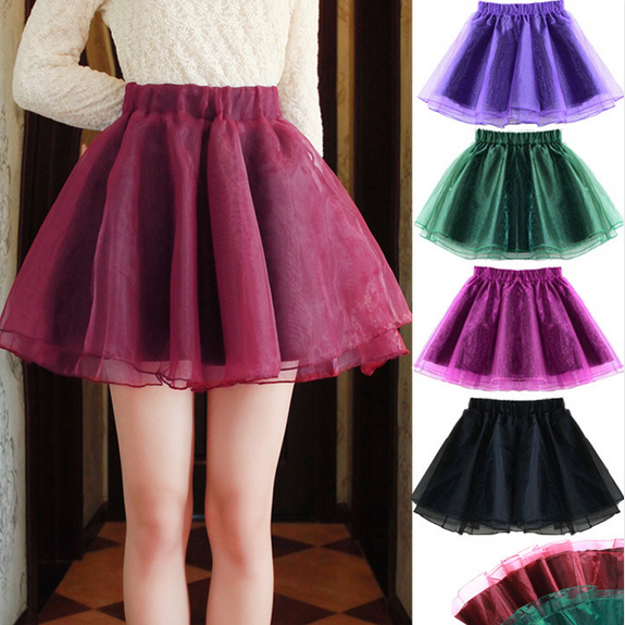 High Waist Pure Color Slim Organza Mini Short Skirts on Luulla