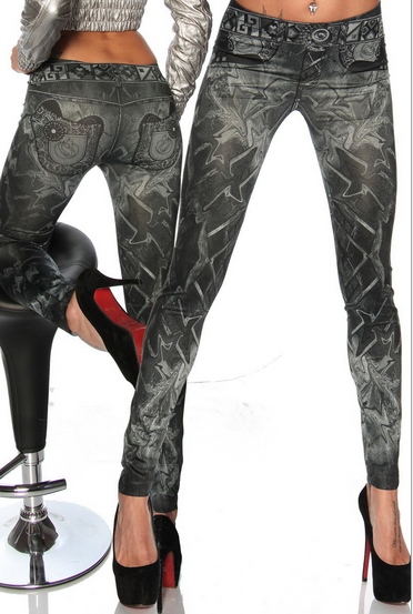 Printed Denim Fashion Seamless Leggings