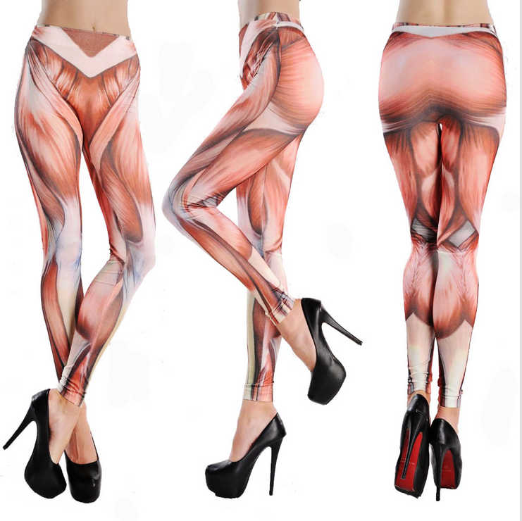 Muscle printing Seamless imitation cowboy leggings