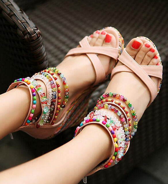 Summer Fashion Sandals Beaded High-Heeled Sandals