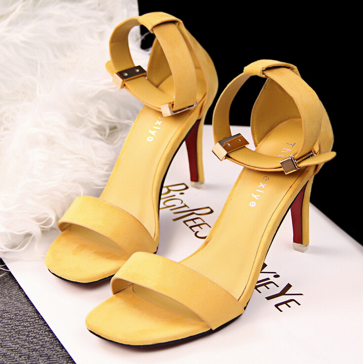 cd6dbce42 Yellow Faux Suede Square Open Toe Ankle Strap High Heel Stilettos on ...