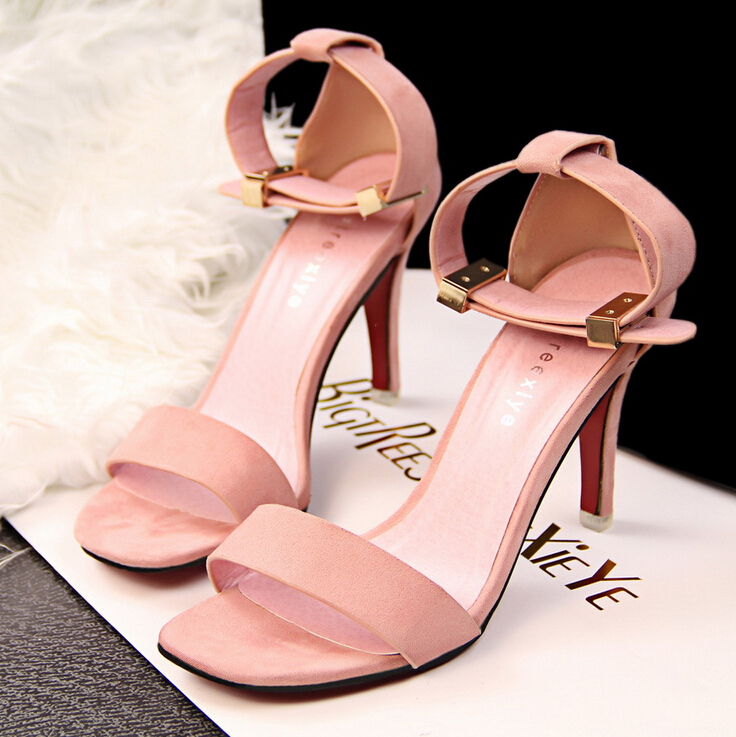 Fashion Contracted Metal Buckles Pink High Heels Sandals