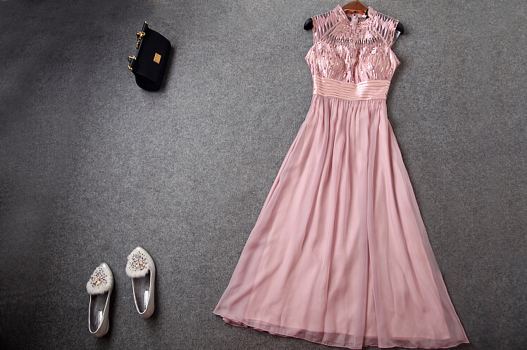 Heavy Embroidery Sequins Bare Pink Long Dress Dress