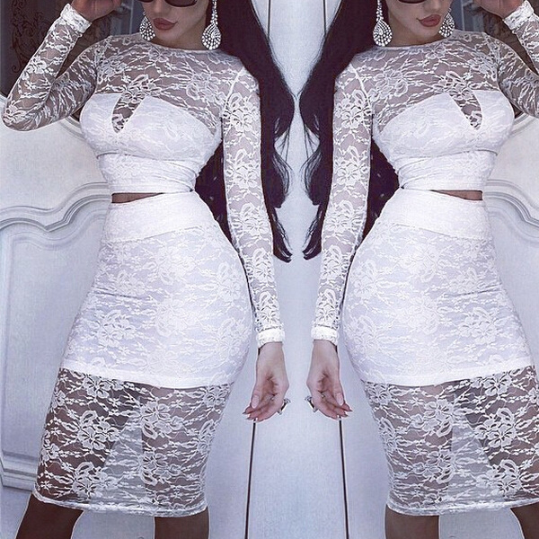 Sexy White Long Sleeve with Lace Dresses