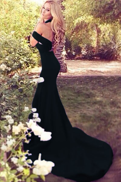 Elegant Black Off Shoulder Mermaid Dress