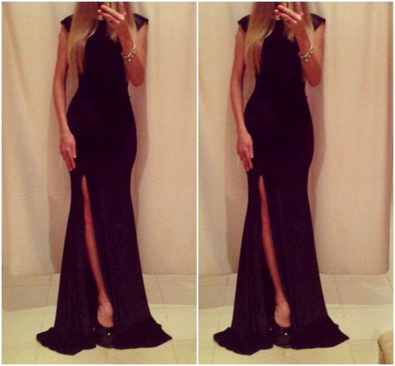40dbdec8553 Cute And Classy Pure Black Long Dress on Luulla