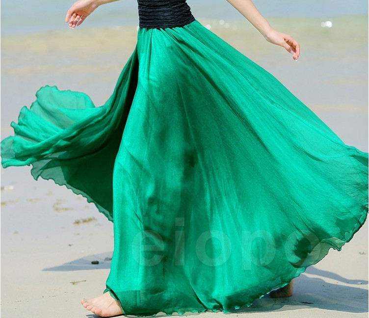 345548ce59c4e Emerald Green Long Chiffon Skirt Maxi Skirt Ladies Silk Chiffon Dress Plus  Sizes Sundress Beach Skir on Luulla