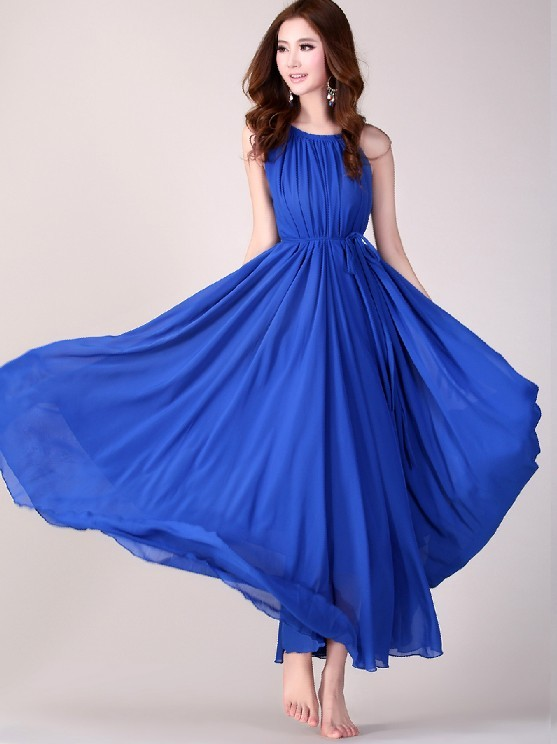 Royal Blue Long Evening Wedding Party Dress Lightweight Sundress