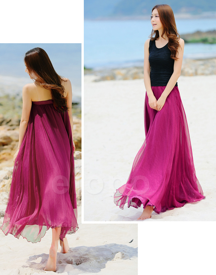 e8bcd10ca64e8 Rose Pink Beach Wedding Bridesmaid Dress, Long Chiffon Dancing Maxi Skirts,  Girls Summer Sundress
