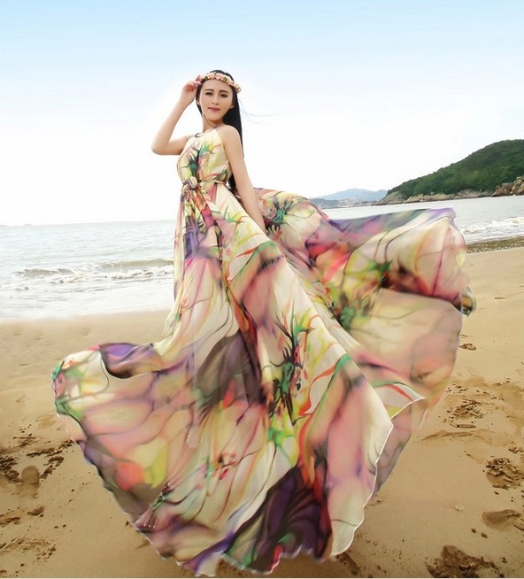 Boho Floral Long Beach Maxi Dress Lightweight Sundress Plus Size